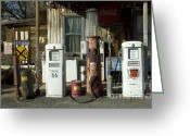 Vintage Signs Greeting Cards - Route 66 Pumps Greeting Card by Bob Christopher