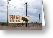 Jackrabbit Greeting Cards - Route 66 Road Sign, 2006 Greeting Card by Granger