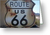 Oatman Greeting Cards - Route 66 Sign Greeting Card by Randall Weidner