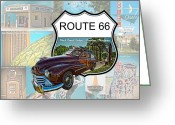 Woody Wagon Greeting Cards - Route 66 Woody Greeting Card by Jak of Arts Photography