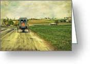 Horse And Buggy Greeting Cards - Route 716 Greeting Card by Kathy Jennings