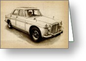 British  Greeting Cards - Rover P5 1968 Greeting Card by Michael Tompsett