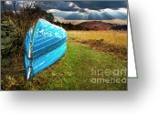 Boat Greeting Cards - Row Boats In Waiting Greeting Card by Meirion Matthias