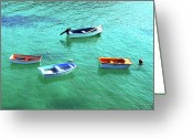 Rowboat Greeting Cards - Row Boats On Turquoise Water Greeting Card by Leniners