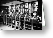 Stout Greeting Cards - row of beer stout and ale pumps in a pub in Scotland UK Greeting Card by Joe Fox