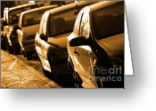 Back Light Greeting Cards - Row of Cars Greeting Card by Carlos Caetano