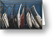 Old Car Door Greeting Cards - Row of Dismantled Car Doors Greeting Card by Noam Armonn