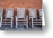 Rocking Chairs Greeting Cards - Row of Rocking Chairs Greeting Card by Skip Nall