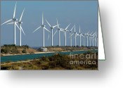 Large Group Greeting Cards - Row of wind turbines along canal Greeting Card by Sami Sarkis
