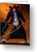 Cowgirl Greeting Cards - Rowdy Greeting Card by Lance Headlee