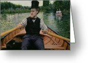 Bowtie Greeting Cards - Rower in a Top Hat Greeting Card by Gustave Caillebotte