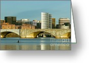 Arlington Memorial Bridge Greeting Cards - Rower on the Potomac River I Greeting Card by Clarence Holmes