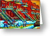 Montreal Restaurants Greeting Cards - Rowhouses And Hockey Greeting Card by Carole Spandau