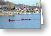 Boathouse Row Philadelphia Greeting Cards - Rowing Along the Schuylkill River Greeting Card by Bill Cannon