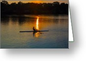 "\""boathouse Row\\\"" Greeting Cards - Rowing at Sunset 2 Greeting Card by Bill Cannon"