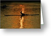 Sculling Greeting Cards - Rowing at Sunset 3 Greeting Card by Bill Cannon