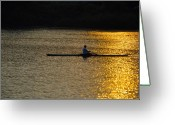 Sculling Greeting Cards - Rowing at Sunset Greeting Card by Bill Cannon