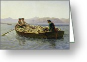 Livestock Painting Greeting Cards - Rowing Boat Greeting Card by Rosa Bonheur