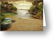 Rowboat Greeting Cards - Rowing Boats On Beach Greeting Card by Roy Jankowski