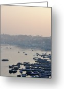 Rowboat Greeting Cards - Rowing Boats On Ganges River Greeting Card by Jessica Solomatenko