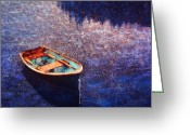 Row Boat Mixed Media Greeting Cards - Rowing dinghy in Maine waters Greeting Card by Bryan Allen