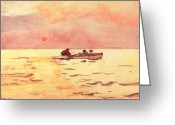 Still Water Greeting Cards - Rowing Home Greeting Card by Winslow Homer