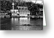 Boathouse Row Greeting Cards - Rowing Past Turtle Rock Light House in Black and White Greeting Card by Bill Cannon