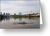 Sculling Greeting Cards - Rowing the Schuylkill Greeting Card by Bill Cannon