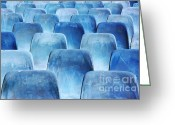 Opera Greeting Cards - Rows of blue chairs Greeting Card by Carlos Caetano