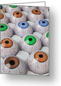 Fun Greeting Cards - Rows of eyeballs Greeting Card by Garry Gay