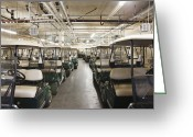 Golf Green Greeting Cards - Rows of Golf Carts in a Warehouse Greeting Card by Jetta Productions, Inc