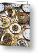 Minute Greeting Cards - Rows Of Pocket Watches Greeting Card by Garry Gay