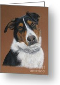 Animalportrait Pastels Greeting Cards - Roxy Greeting Card by Sabine Lackner