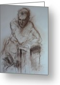 Crayon Painting Greeting Cards - Roy leaning on stool. Greeting Card by Harry Robertson