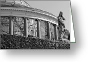 Conservatory Photo Greeting Cards - Royal Conservatory in Brussels - Black and White Greeting Card by Carol Groenen