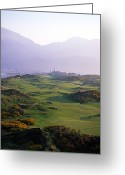 Golf Club Greeting Cards - Royal County Down Golf Club In Front Greeting Card by Chris Hill