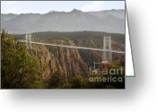 Suspension Bridge Greeting Cards - Royal Gorge Bridge Colorado - The Worlds Highest Suspension Bridge Greeting Card by Christine Till