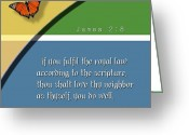 Bible Scripture Canvas Greeting Cards - Royal law Greeting Card by Greg Long