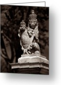 Royalty Greeting Cards - Royal Lion - Sepia Greeting Card by Christopher Holmes