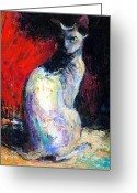 Pet Portrait Drawings Greeting Cards - Royal sphynx Cat painting Greeting Card by Svetlana Novikova