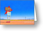 Welcome Signs Greeting Cards - Roys Motel and Cafe Greeting Card by Wingsdomain Art and Photography