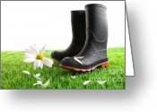 Beginnings Greeting Cards - Rubber boots with daisy in grass Greeting Card by Sandra Cunningham