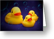 Bath Time Greeting Cards - Rubber Duckies Greeting Card by Tom Mc Nemar