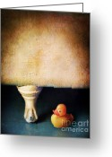 Bath Time Greeting Cards - Rubber Ducky and Claw Foot Tub Greeting Card by Jill Battaglia
