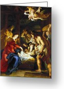 Angel Photo Greeting Cards - RUBENS: ADORATION, c1608 Greeting Card by Granger