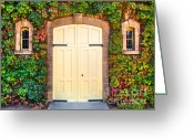 Red Leaves Greeting Cards - Rubicon Door Greeting Card by Mars Lasar