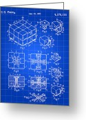 Game Digital Art Greeting Cards - Rubiks Cube Patent Greeting Card by Stephen Younts