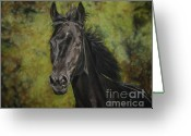 Animalportrait Pastels Greeting Cards - Rubina - Spirit of my soul Greeting Card by Sabine Lackner