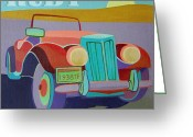 Ford V8 Greeting Cards - Ruby Ford Roadster Greeting Card by Evie Cook