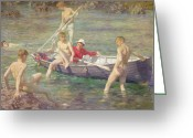 Lads Greeting Cards - Ruby Gold and Malachite Greeting Card by Henry Scott Tuke